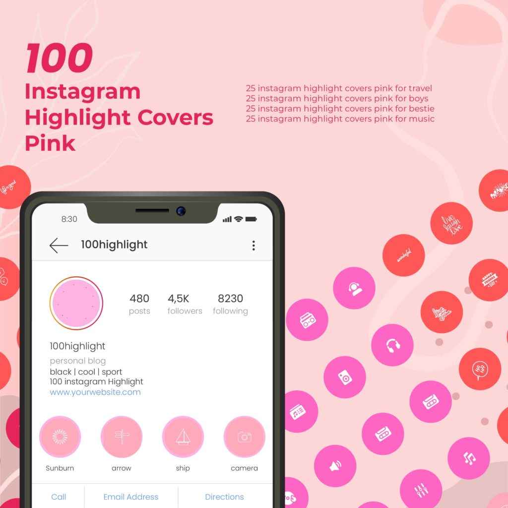 Instagram highlight covers pink